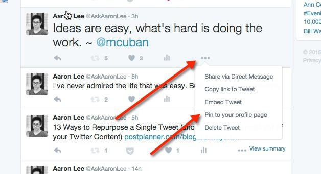 como fixar tweets no Twitter